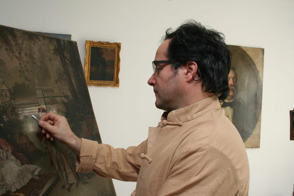 Restaurator für Gemälde, Giuseppe in der Werkstatt