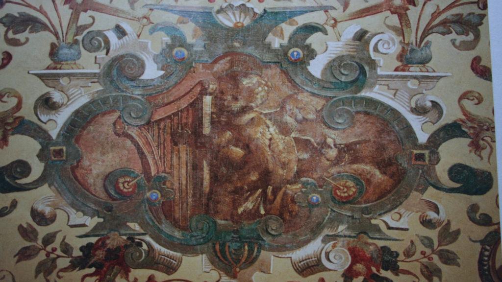 Restaurierung von Architekturoberflächen, Wandmalerei, Arkadengang, Rathausstrasse 9 Wien für die Firma Richard Leodolter, 20. Jahrhundert