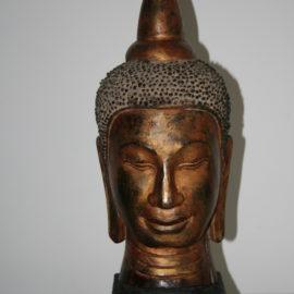 Nach Restaurierung, asiatischer Buddha-Kopf 19. Jahrhundert